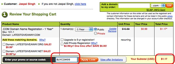 godaddy december coupon for $1 domain