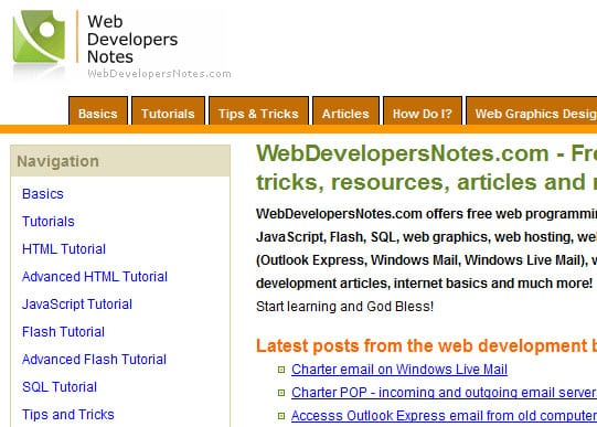 WebDevelopersNotes