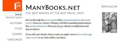 ManyBooks 30 siti dove poter scaricare ebook gratis