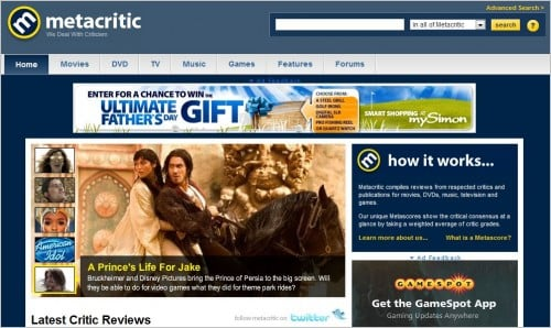 metacritic e1275379274151 Top 10 Social Networking Websites For Movie Lovers