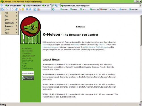 k meleon web browser e1282890216418 18 Amazing Alternative Web Browsers You Should Try