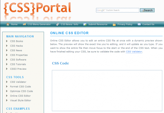 cssportal1 e1273922956889 Top 10 Best Free Online CSS Editors For Web Designers
