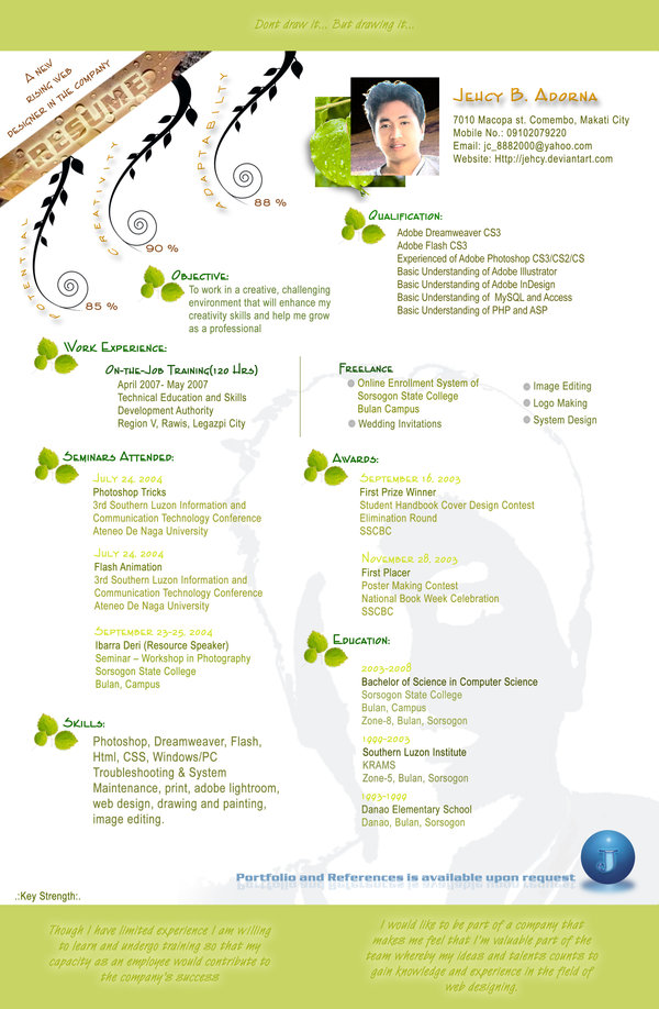 Creative Resume by Jehcy