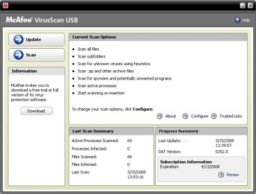 mcafee virusscan usb 10 Tools to Protect Computer from Infected USB Flash Drives