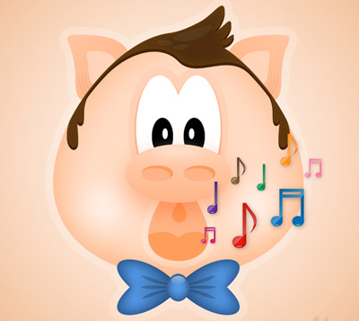 singing pig 35 (More) Adobe Illustrator Cartoon Character Tutorials