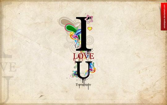 Wallpaper: askdzigner - Typography I LOVE U