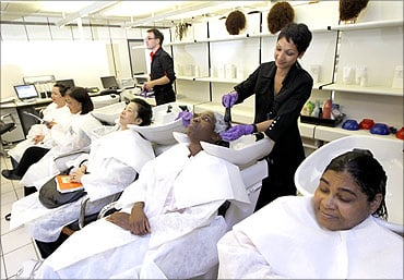 General view of L'Oreal cosmetics company's shampoo and hair care testing laboratory at l'Oreal headquarters in Clichy, near Paris.