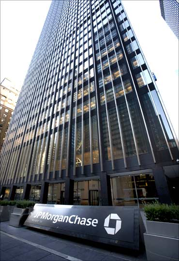 JP Morgan and Chase headquarters is seen in New York.
