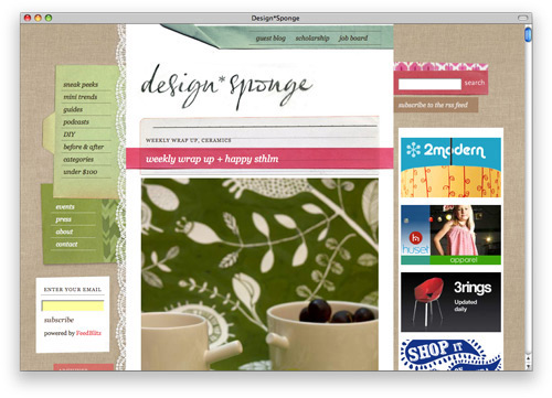 designsponge 100 Nice and Beautiful Blog Designs