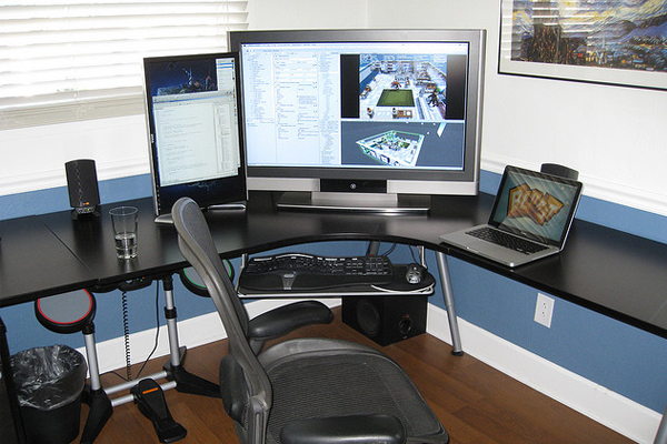 home office front view Inspirational Workspace: 60 Awesome Setups