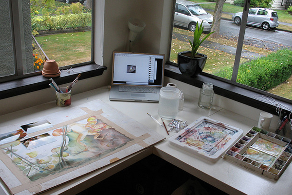 illustration artistic work environment Inspirational Workspace: 60 Awesome Setups