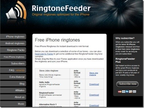 Ringtone Feeder thumb Top 10 Websites For Free iPhone Ringtones