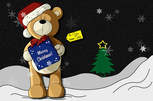 teddys present2 50+ Beautiful Christmas Wallpapers for your Desktop