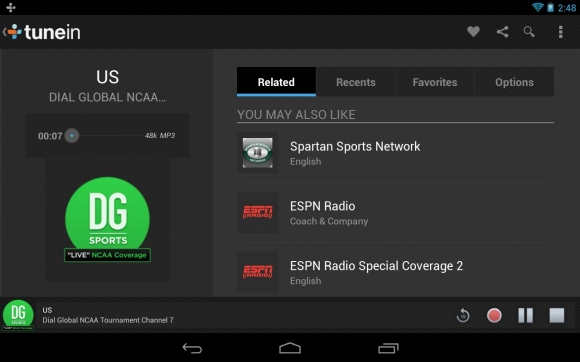 TuneIn Radio Pro 100 Best Android Apps to Make your Device Enterprising