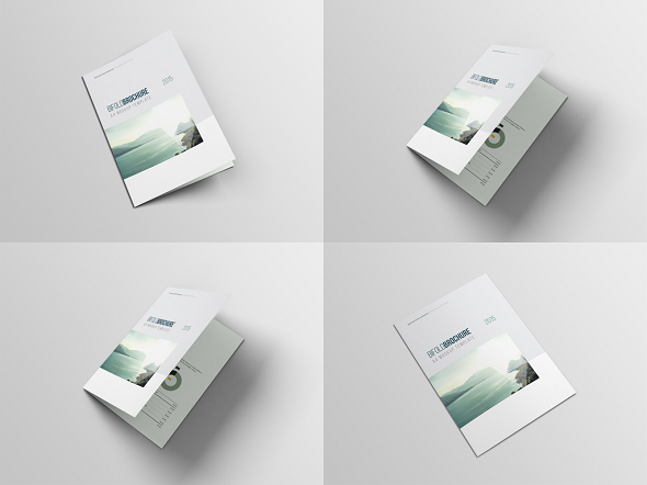 Free 4 Bifold Brochure A4 Mock-up