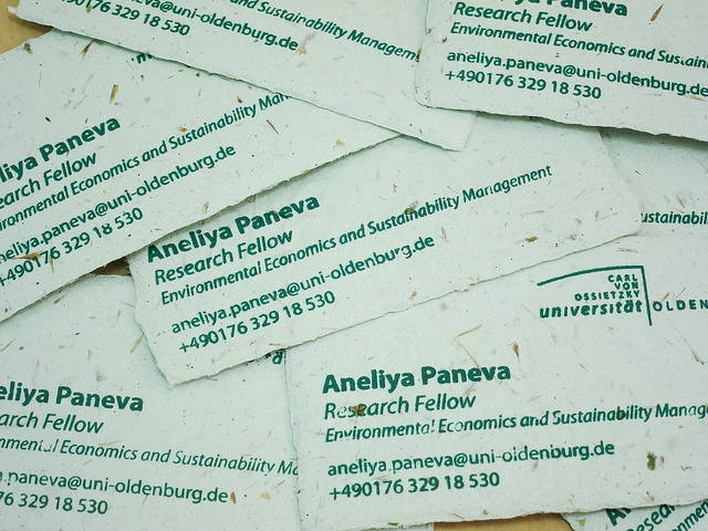 Green handmade paper business cards