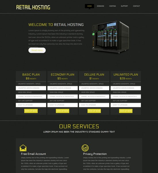 free retail hosting domain sales mobile web template