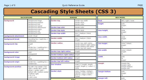 CSS 3 Cheat Sheet (PDF)
