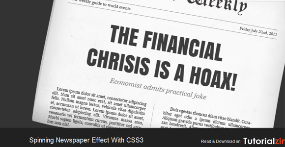 Spinning Newspaper Effect with CSS3