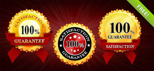 3 Satisfaction Guaranteed PSD Badges