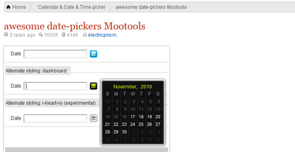 Awesome Date - Picker Mootools