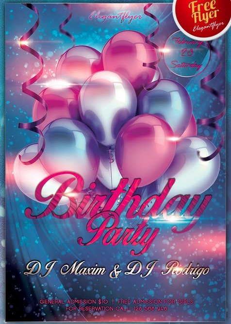 Birthday Party – Club and Party Free Flyer PSD Template