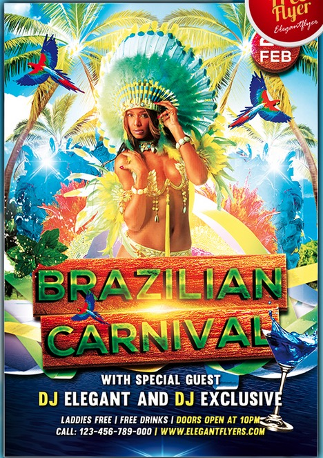 Brazilian Carnival – Club and Party Free Flyer PSD Template