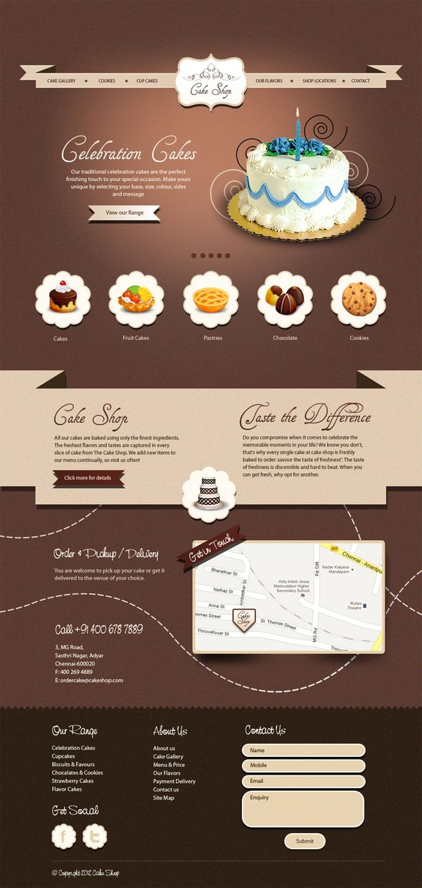 Cake Designs Website : 50 Impressive Designs of Coffee, Cake and Bakery Websites