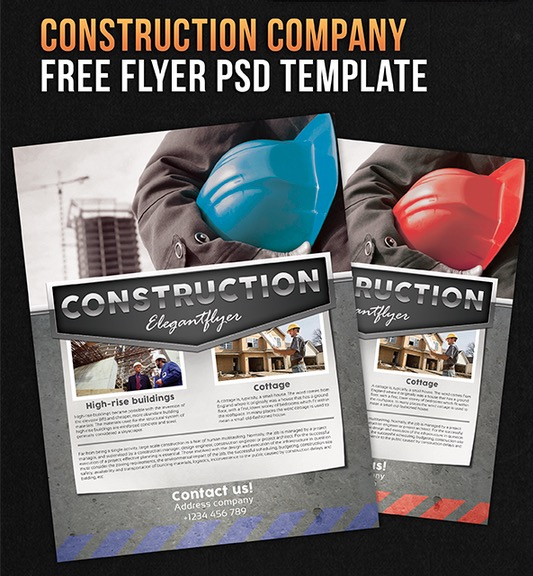 Construction company – Free Flyer PSD Template + Facebook Cover
