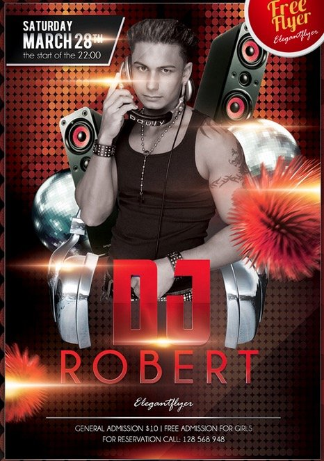 Dj Robert – Club and Party Free Flyer PSD Template