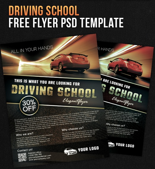 Driving school – Free Flyer PSD Template + Facebook Cover