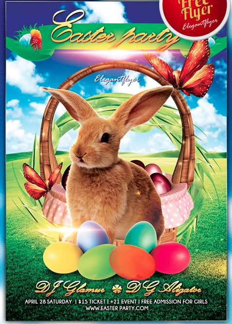 Easter party – Free Flyer PSD Template + Facebook Cover
