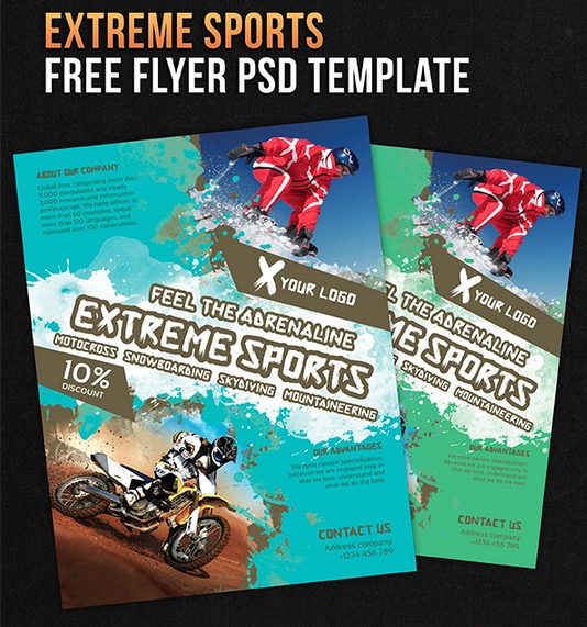 Extreme Sports – Free Flyer PSD Template + Facebook Cover