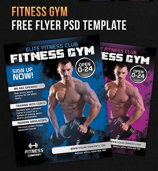 Fitness Gym – Free Flyer PSD Template + Facebook Cover