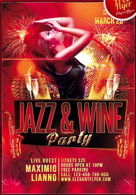 Jazz & Wine Party – Club and Party Free Flyer PSD Template