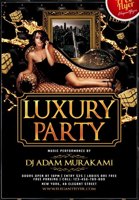 Luxury Party – Club and Party Free Flyer PSD Template