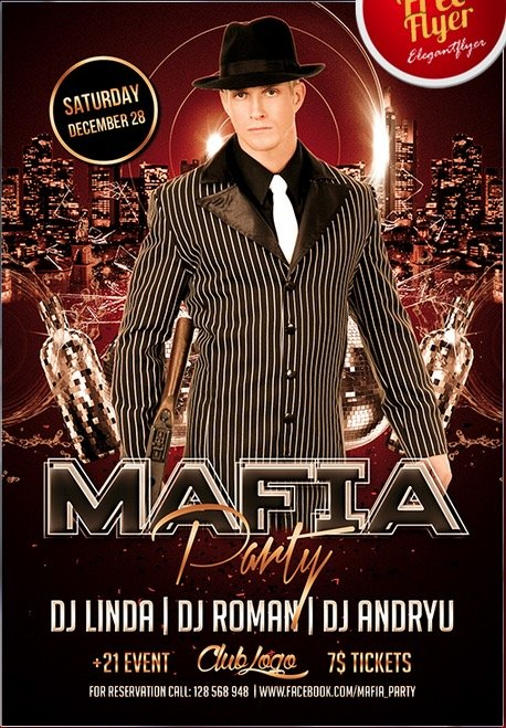 Mafia Party – Free Flyer PSD Template