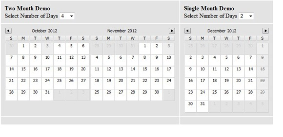Multi day Calendar Date picker JQuery Plug-in