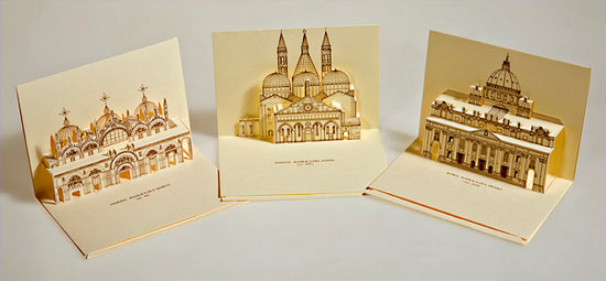 Origami Old Postcards & Some Cool example of 3D Pop-up postcard design ideas
