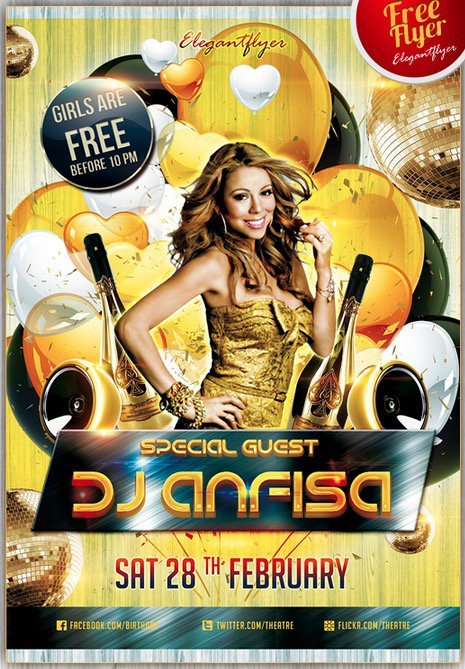 Special Guest Dj Anfisa Free Flyer PSD Template