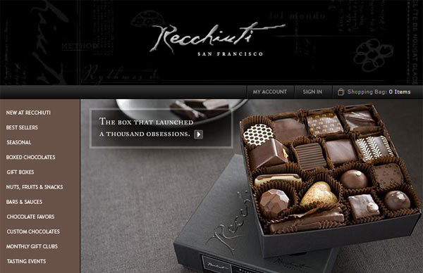 The chocolates Recchia, an elegant silver box