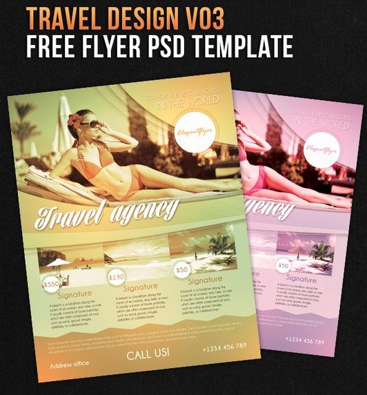 Travel Design V03 – Free Flyer PSD Template + Facebook Cover