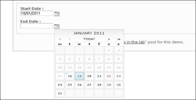 Unobtrusive Date - Picker Widget Update