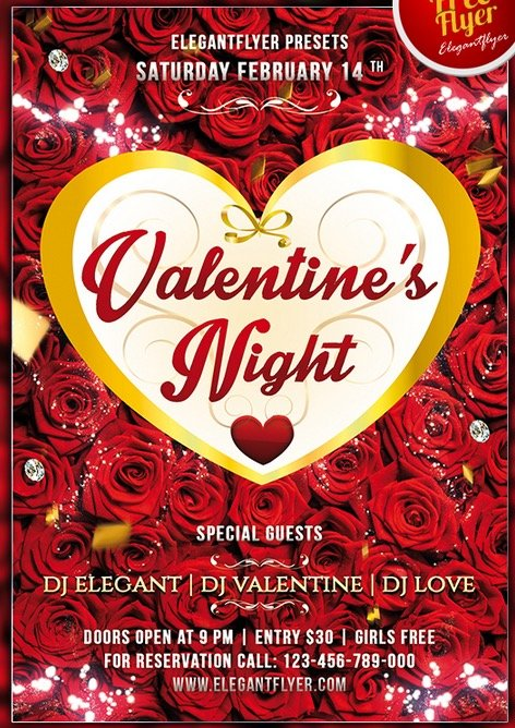 Valentine´s Night Club and Party Flyer PSD Template