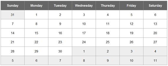 jQuery Calendar Widget Plugin