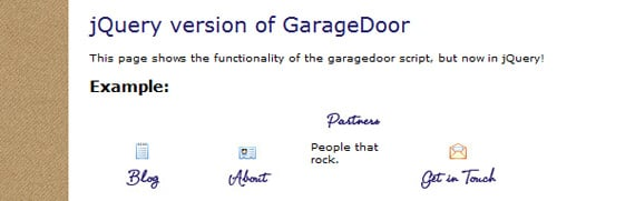 Garagedoor effect using Javascript