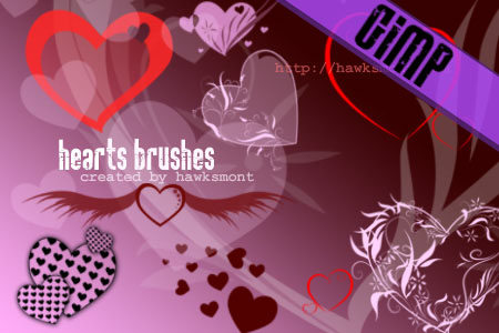 Hearts GIMP Brushes by Hawksmont