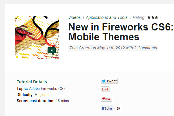 New in Fireworks CS6: jQuery Mobile Themes