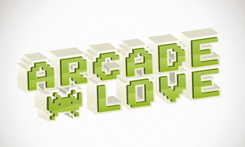 Retro 3D Arcade Text Effect in Illustrator