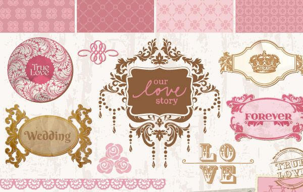 Vintage Decorative Wedding Ornaments and Frames
